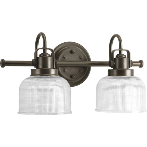 "Progress Lighting P2991 Archie 2 Light Bathroom Vanity Light with Prismatic Shades - 17"" Wide"