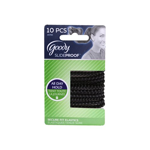 Goody Slide Proof Stayput Black Hair Elastics, 4 mm, 10 Count