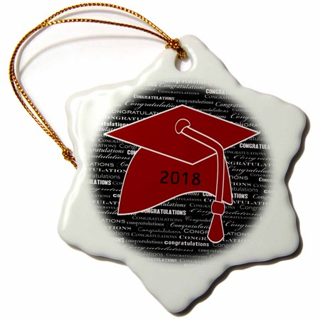 3dRose Image of Congratulations Red Cap and Tassel On Black Message - Snowflake Ornament, 3-inch