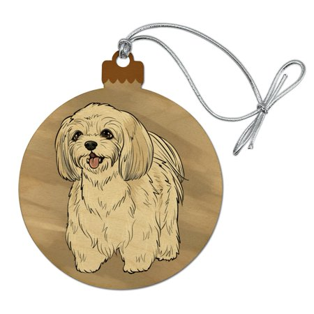 Shih Tzu Pet Dog Wood Christmas Tree Holiday Ornament Dog Christmas Holiday Ornament