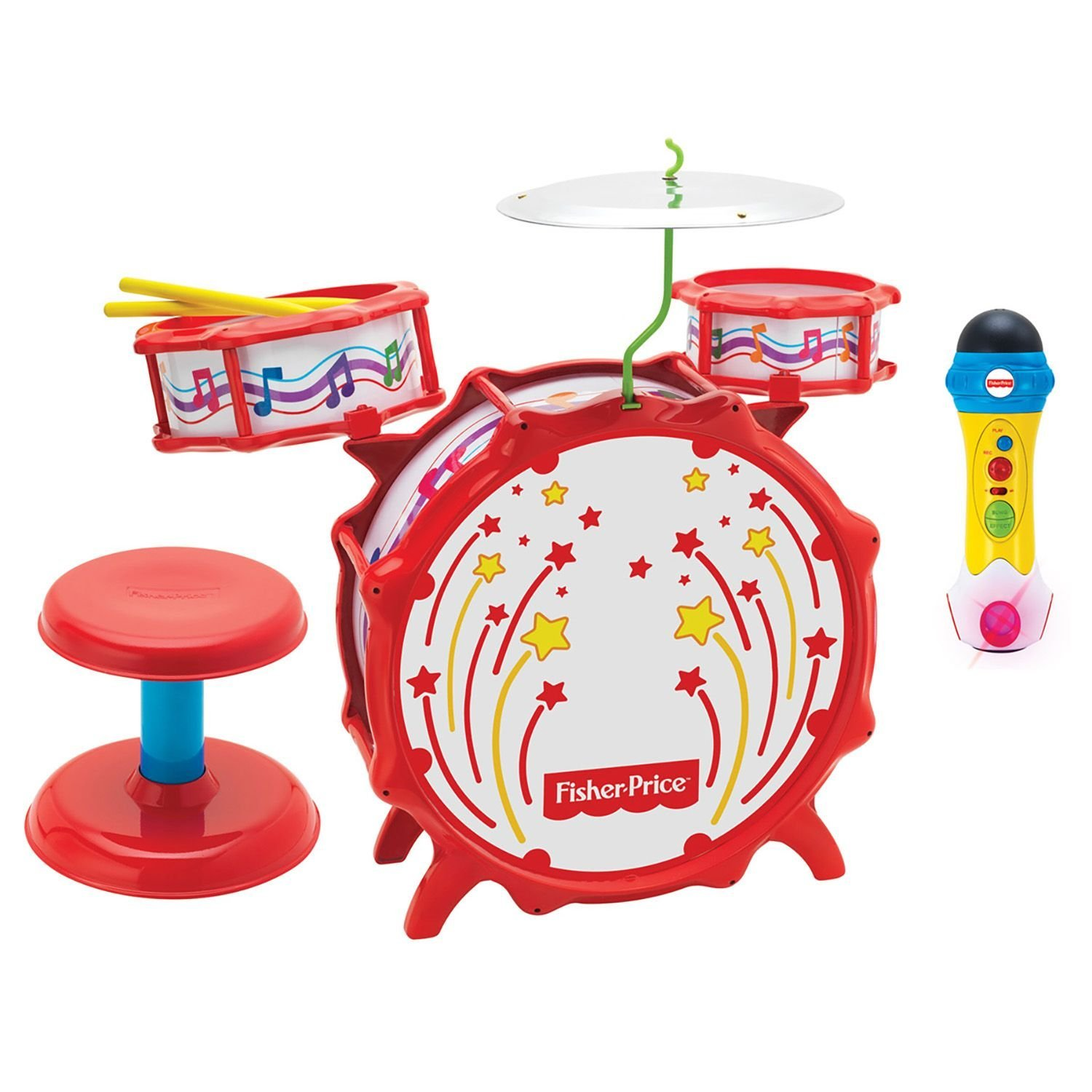 Fisher Price Big Bang Drumset & Rappin' Recording Microphone by FISHER PRICE