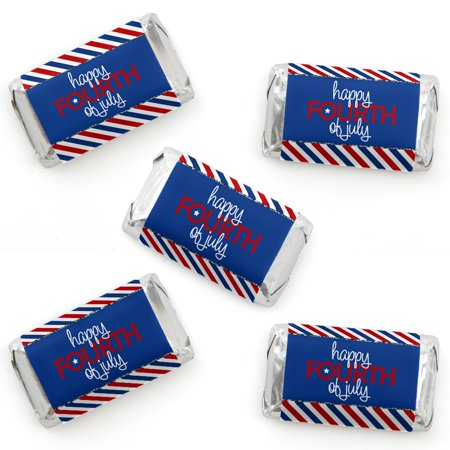 4th of July - Mini Candy Bar Wrapper Stickers - Independence Day Small Favors - 40 Count