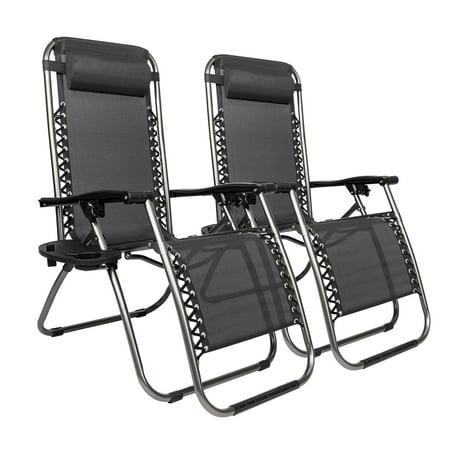 Super Ktaxon 2Pcs Folding Zero Gravity Reclining Lounge Chairs Outdoor Beach Patio Yard Black Uwap Interior Chair Design Uwaporg