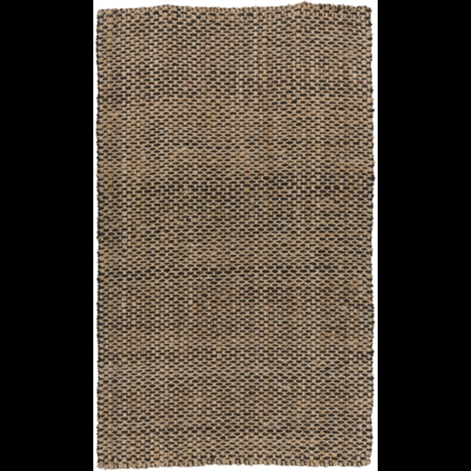 8' x 11' Alluring Burlap Jet Black and Tan Hand Woven Jute Area Throw Rug