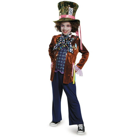 Alice in Wonderland: Through the Looking Glass Deluxe Mad Hatter Child Halloween Costume](Halloween Mad Hatter Makeup)