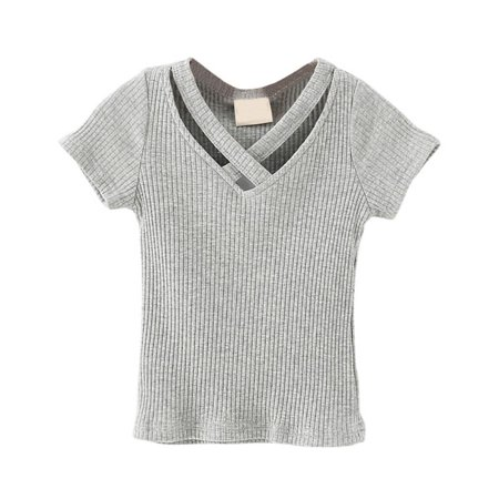 - Toddler Kid Baby Girl Hollow V-Neck Short Sleeve Cotton T Shirt Knitted Top