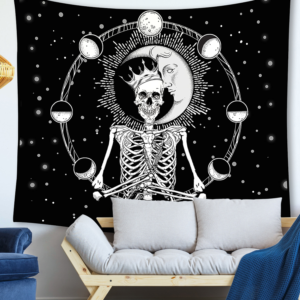 Punk Skull Printed Wall Hanging Tapestry Floor Carpet Bedspread Beach Matte