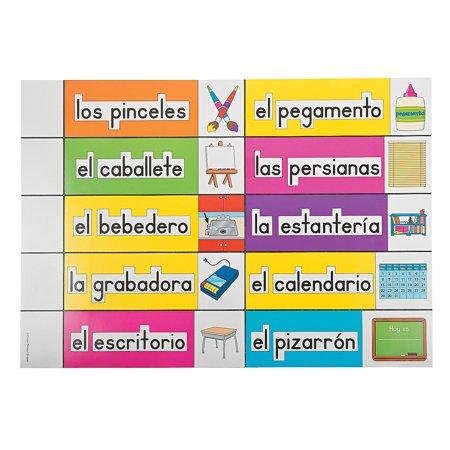 Fun Express - Spanish Classroom Labels - Educational - Classroom Decorations - Classroom Decor - 56 Pieces (Spanish Classroom Decorations)