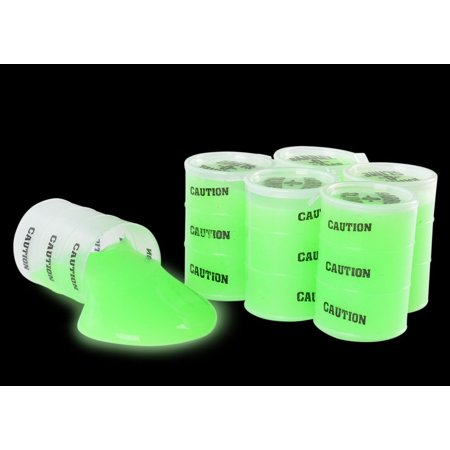 Glow In The Dark Slime Barrel  Container 3 Inches - 6 Pack  Green Color - Glow In The Dark Colors