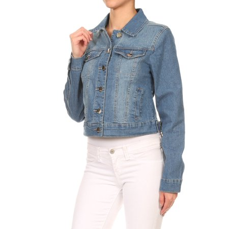 Women's Juniors Premium Stretch Denim Long Sleeve Cropped -