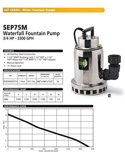 3/4 HP Submersible Water Fall/Fountain Pump
