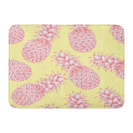 GODPOK Dessert Drawn Abstract Pink Yellow White Pineapple Sketch Tropical Exotic Fruit Ananas Diet Rug Doormat Bath Mat 23.6x15.7 inch