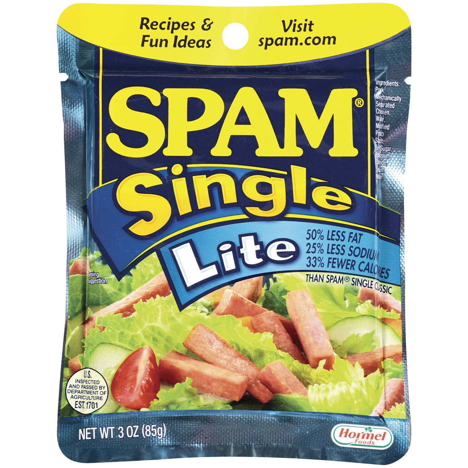 SPAM Single Lite Canned Meat 3 OZ PEG by Hormel Foods Corporation