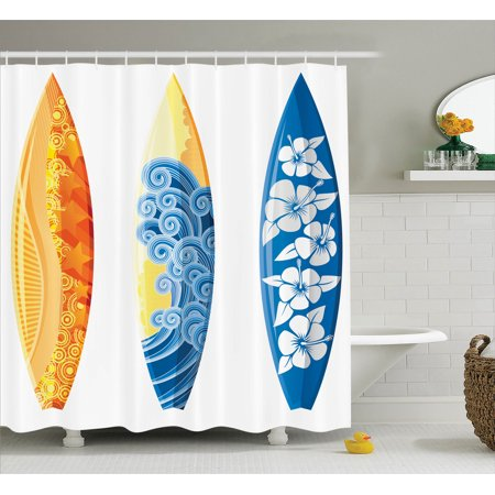 (Surf Decor Shower Curtain Set, Ornate Colorful Surfboards Vocation Fun Water Sports Moving Waves Lifestyle Art, Bathroom Accessories, 69W X 70L Inches, By Ambesonne)