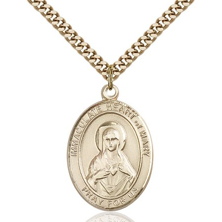 Gold Filled Immaculate Heart of Mary Pendant 1 x 3/4 inches with Heavy Curb Chain