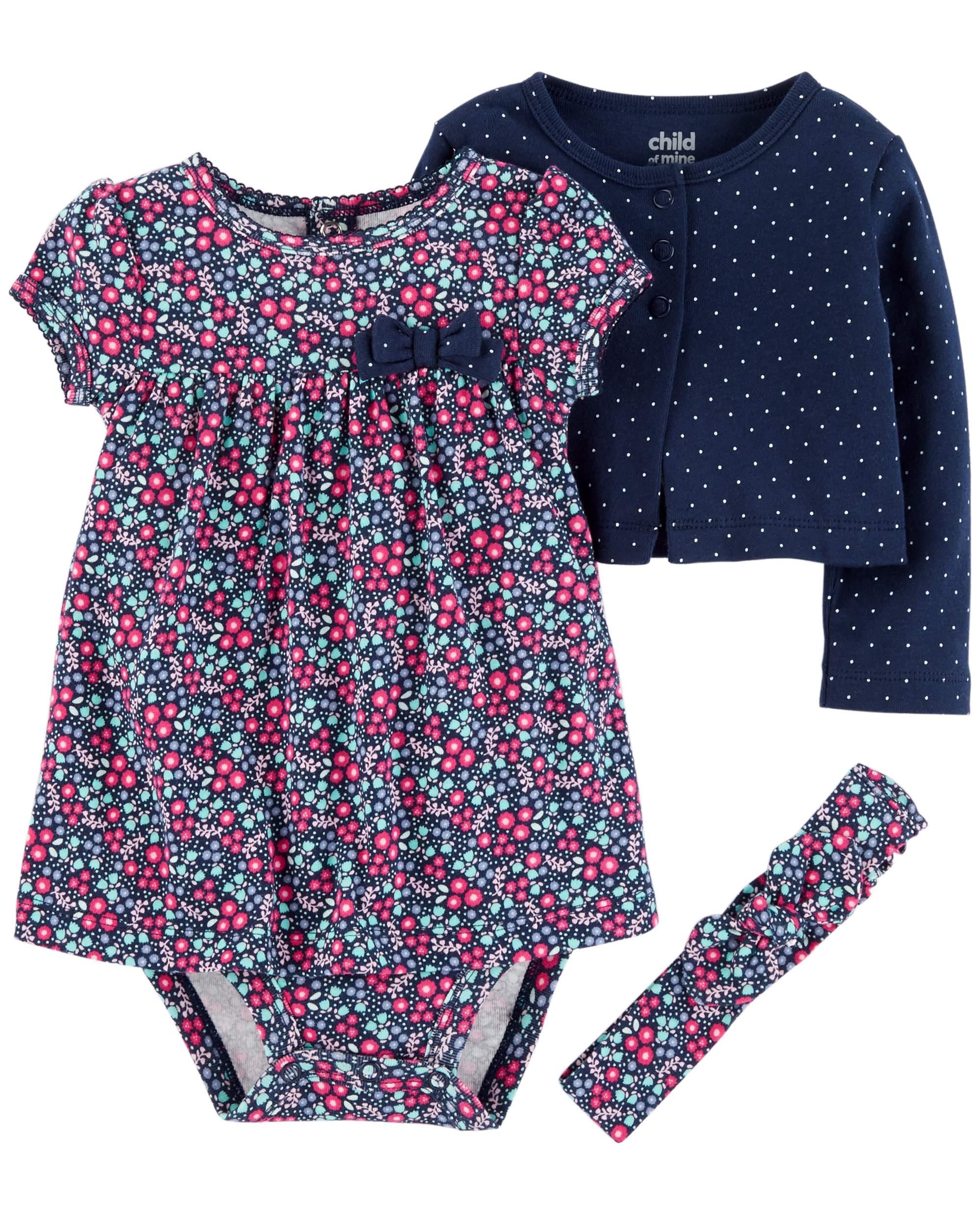 Long Sleeve Cardigan, Dress & Headband, 3pc Outfit Set (Baby Girls)