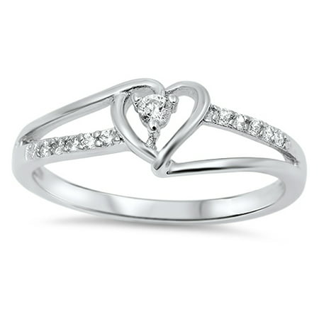 Sterling Silver Women's Flawless Colorless Cubic Zirconia Round Solitaire Promise Heart Ring (Sizes 3-12) (Ring Size 4) 4 Round Czs Ring