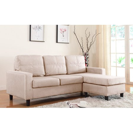 Modern Reversible Small Space Configurable Linen Sectional