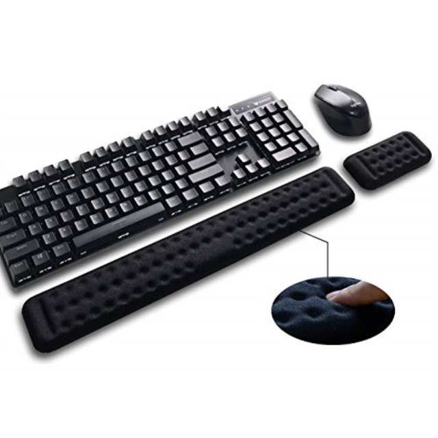 Prevent Carpal Tunnel RSI When Typing on Computer Mac Laptop Memory Foam Cushion New Improved Shape Full Ergonomic Mouse Pad with Wrist Support Gel Included for Set Keyboard Wrist Rest Pad