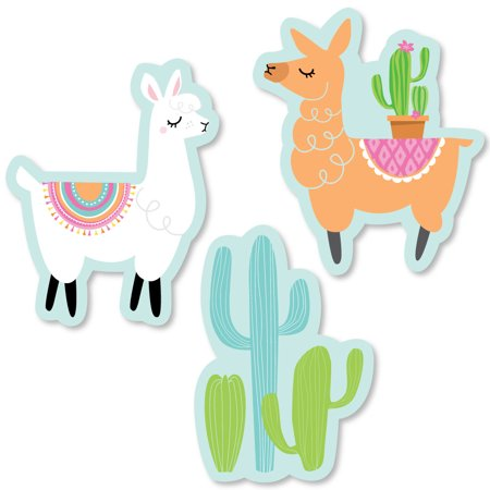Whole Llama Fun - DIY Shaped Llama Fiesta Baby Shower or Birthday Party Cut-Outs - 24 Count - Fun Halloween Party Ideas For Preschoolers
