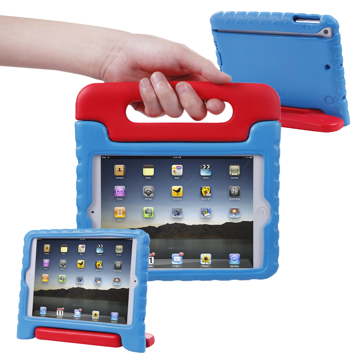 Hde Ipad Mini 2 3 Case For Kids Rugged Heavy Duty Drop Proof Children Toy Protective Shockproof Cover Handle Stand Le 1 Retina Red