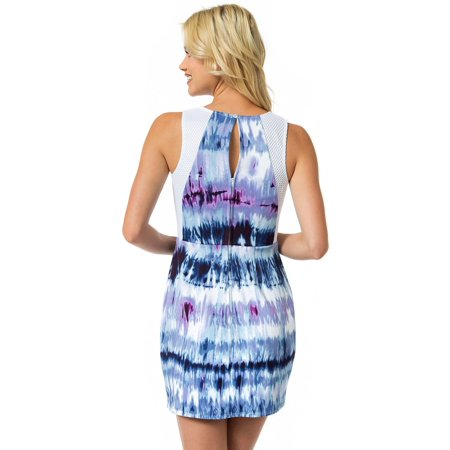 Teeze Me | Sleeveless Tie Dye Print Scuba Dress | Off-White/Blue](Xl Teeze)