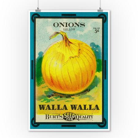 Walla Walla - Onion Seed Packet - Lantern Press Artwork (9x12 Art Print, Wall Decor Travel Poster)
