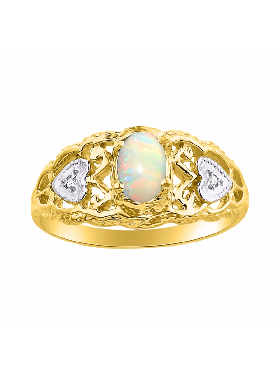 Diamond & Opal Ring Set In 14K Yellow Gold Designer Hearts LR6302OPY-D by Rylos