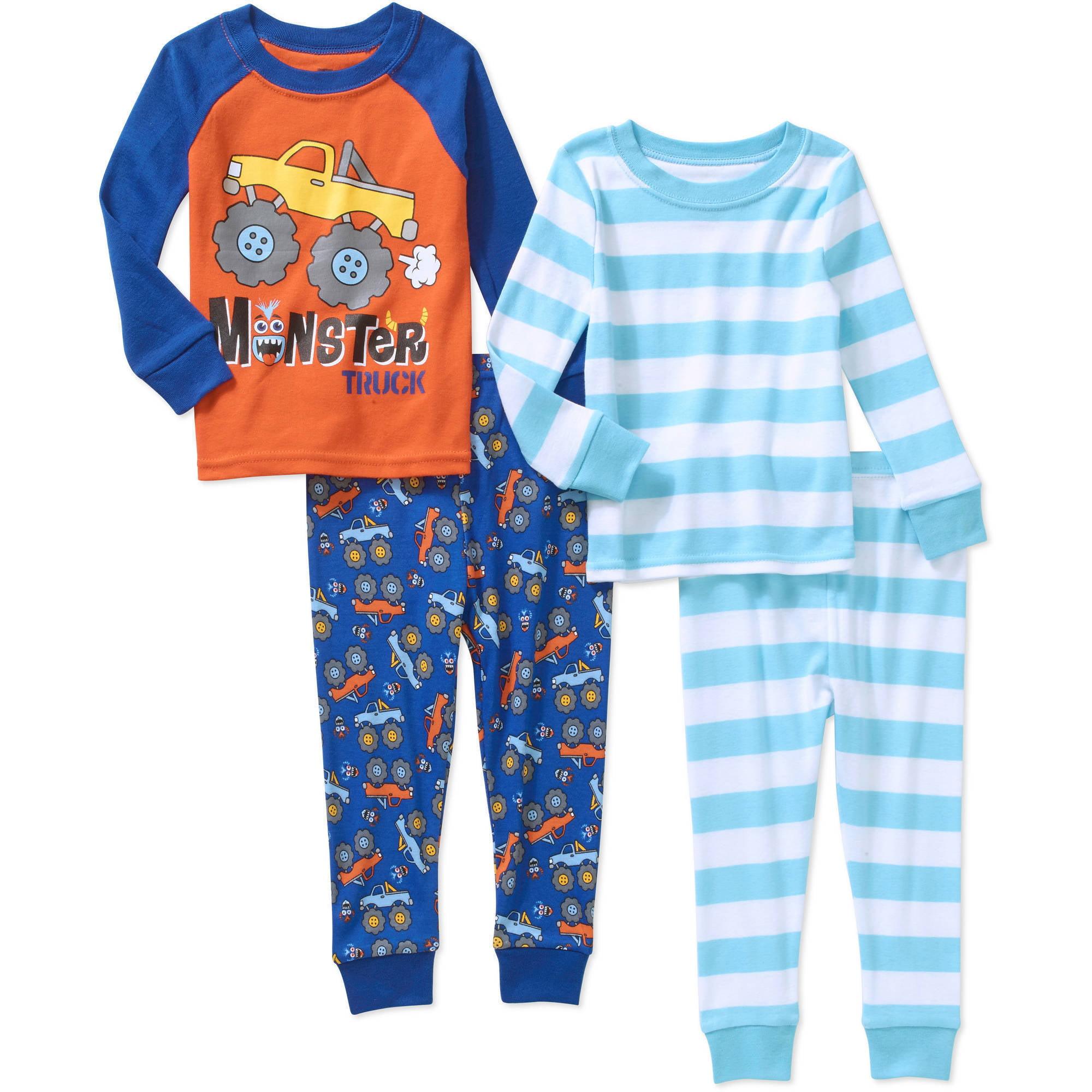 Baby Toddler Boys' Cotton Tight Fit Pajamas, 4-Piece Set