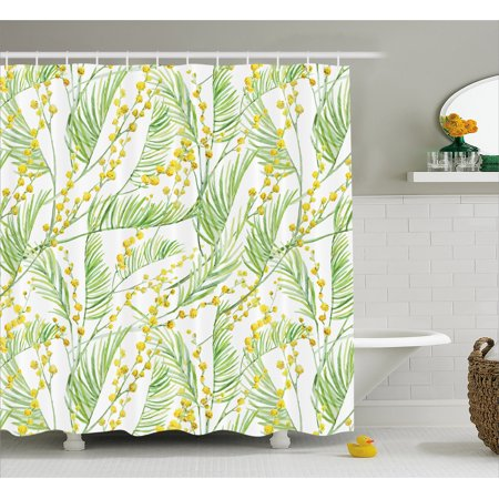 Yellow Flower Shower Curtain Delicate Spring Mimosa Pattern Drawing Style Rustic Countryside Flora Fabric