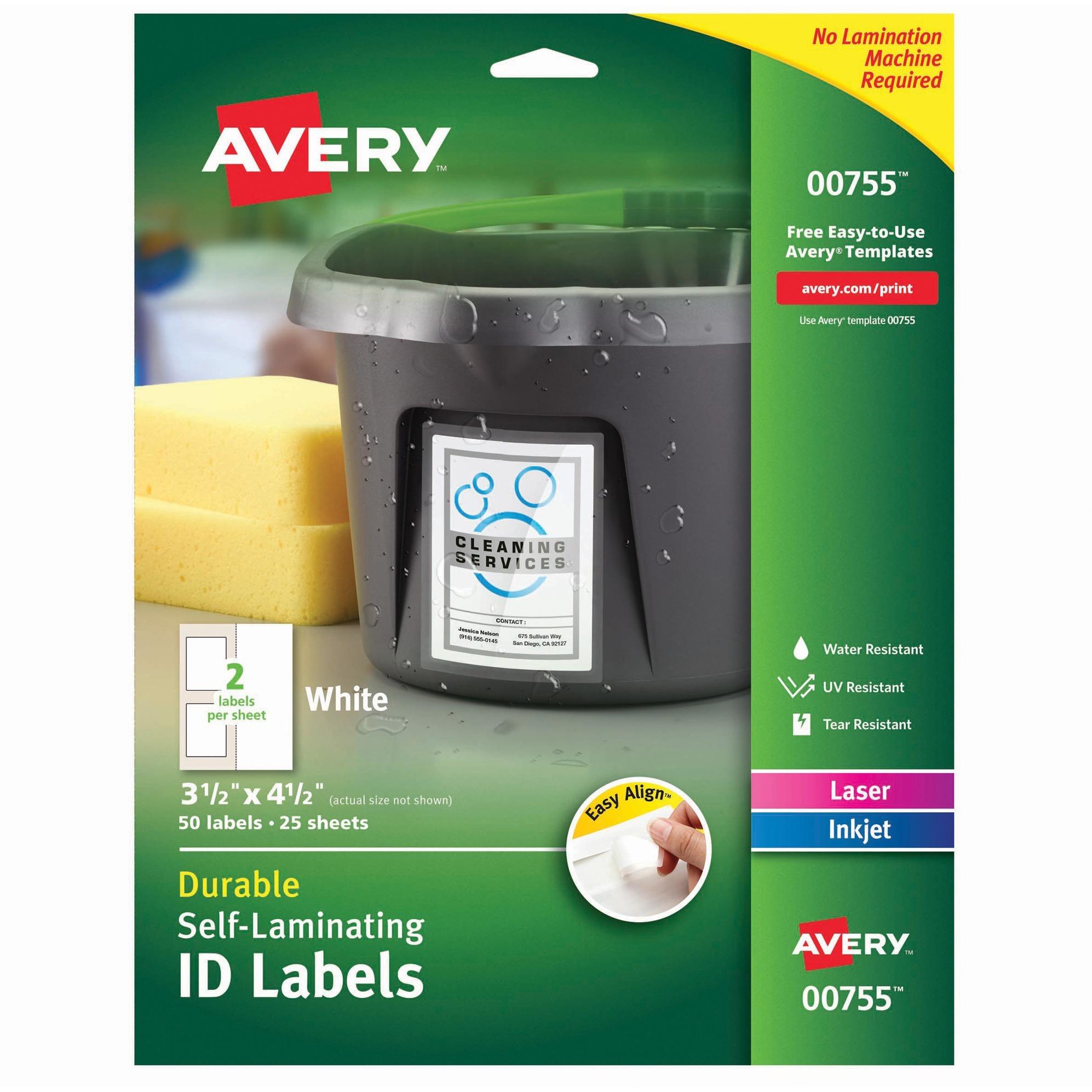 Avery Easy Align Self-Laminating ID Labels, Laser/Inkjet, 3 1/2 x 4 1/2, White, 50/PK