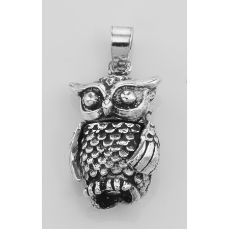 Moveable Owl Charm Pendant - Moveable - Sterling Silver