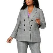 NINE WEST Womens Black Pocketed Buttoned Plaid Blazer Wear To Work Jacket Plus  Size: 24W