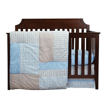 Trend Lab 3 Piece Baby Infant Nursery Sleeping Room Cradle Bassinet Mattress Decorative Logan Crib Bedding Set ()