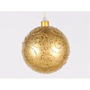 Winterland WL-BALL-200-GO 200 mm. Gold Ornament Ball With Gold Glitter Design