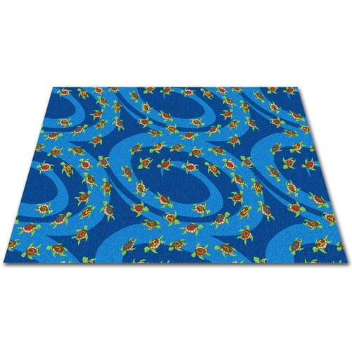 Kid Carpet A-B-Sea Turtles Blue Area Rug