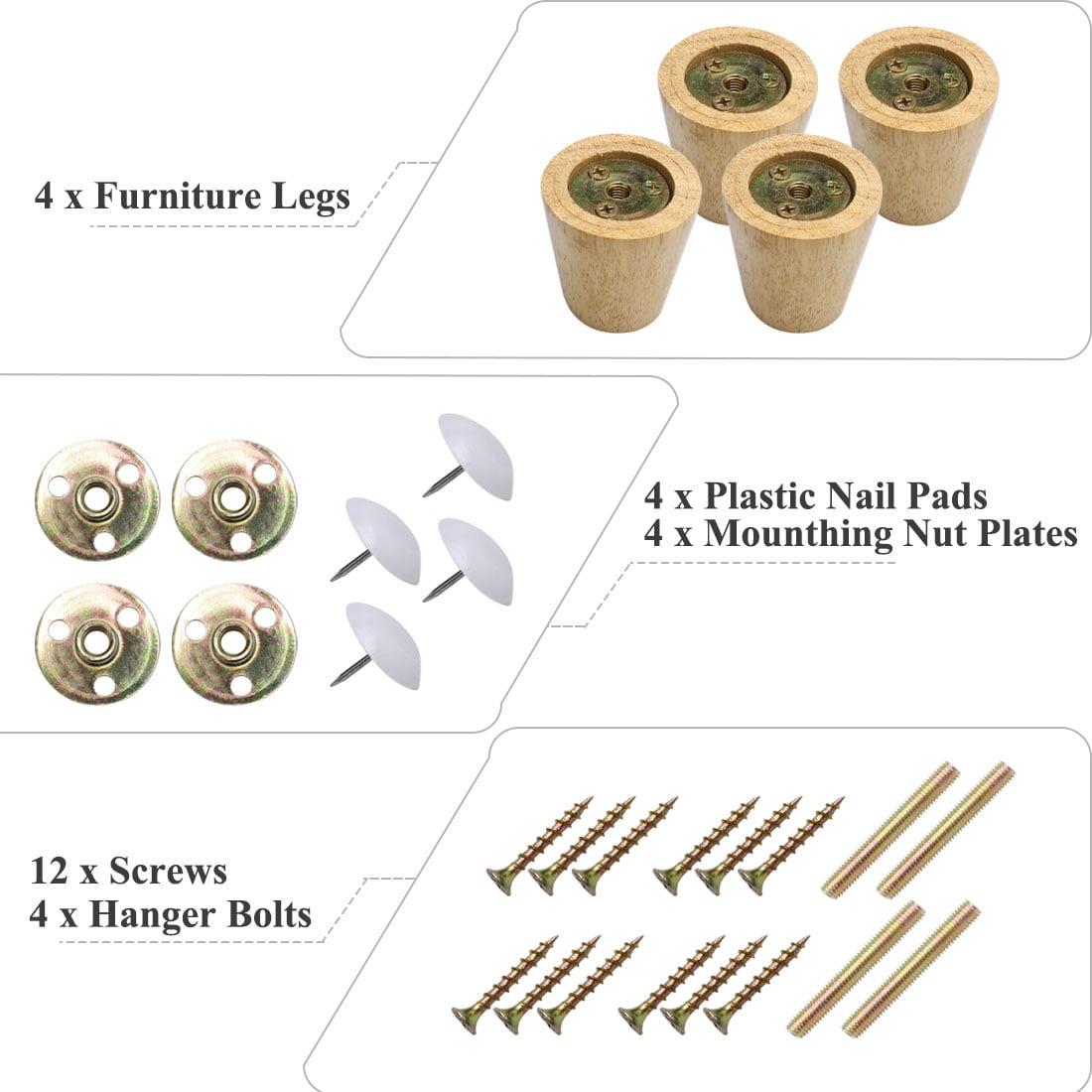 "2.4"" Round Solid Wood Furniture Leg Sofa Desk Feet Adjuster Replacement Set of 4 - image 5 de 7"