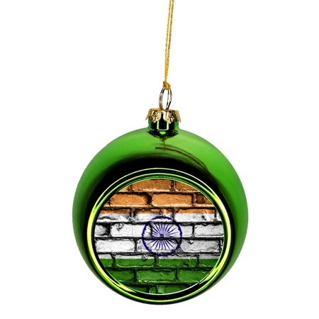 Flag of India Ornaments Green Bauble Christmas Ornament ...