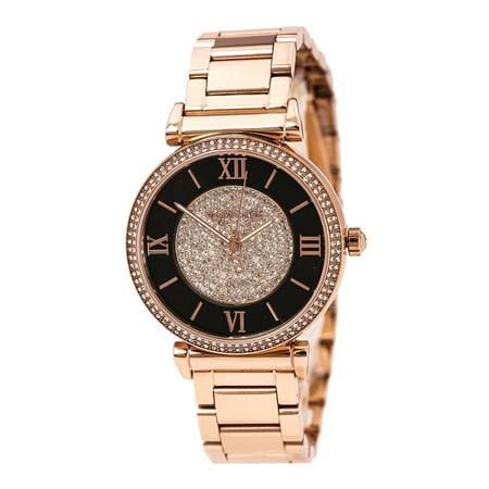 - MK3339 Women's Catlin Black and Rose Gold Crystal Pave Dial Rose Gold Steel Bracelet Watch