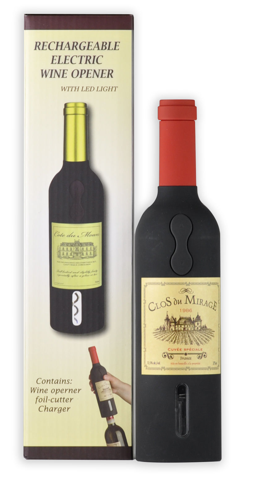 WINEMASTER Wine Bottle Electric Corkscrew with foil cutter and CUL CSA certified adaptors (Red top, 600158) by Zhejiang Yiming Tools Co
