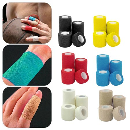 10-Pack, 4.5m Length, Self-Adherent Cohesive Tape, Strong Sports Tape for Wrist, Ankle Sprains Swelling, Self-Adhesive Bandage Rolls, Assorted
