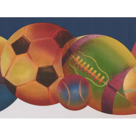 Colorful Football Baseball Soccer Ball Navy Blue Modern Wallpaper Border Sport Design, Roll 15' x