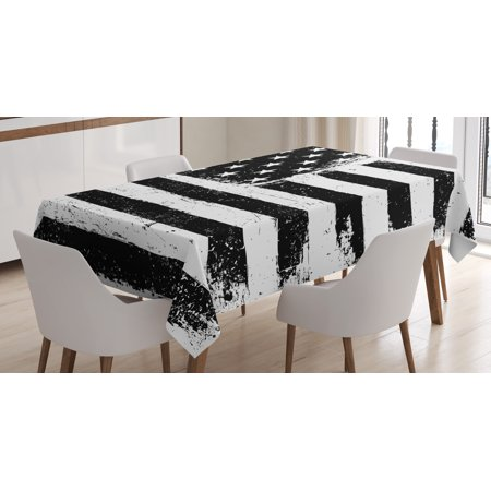 United States Tablecloth, Grunge Aged Black and White American Flag Independence Fourth of July Decor, Rectangular Table Cover for Dining Room Kitchen, 52 X 70 Inches, Black White, by Ambesonne - Black And White Tablecloth