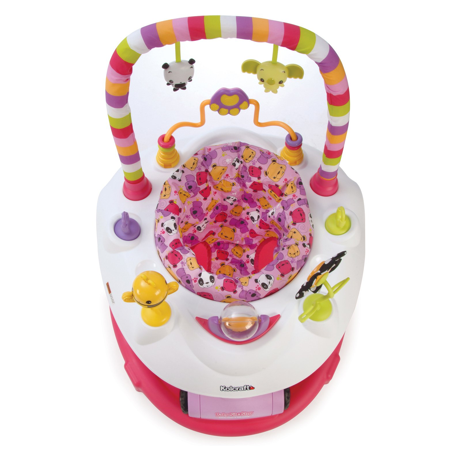 Kolcraft Baby Sit & Step 2-in-1 Activity Center, Pink Bear Hugs