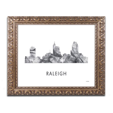 Trademark Fine Art 'Raleigh NC Skyline WB-BW' Canvas Art by Marlene Watson, Gold Ornate Frame ()
