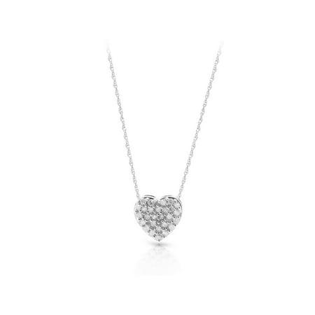 14K White Gold Diamond Accent Heart Necklace Pendant 9k Gold Diamond Pendant