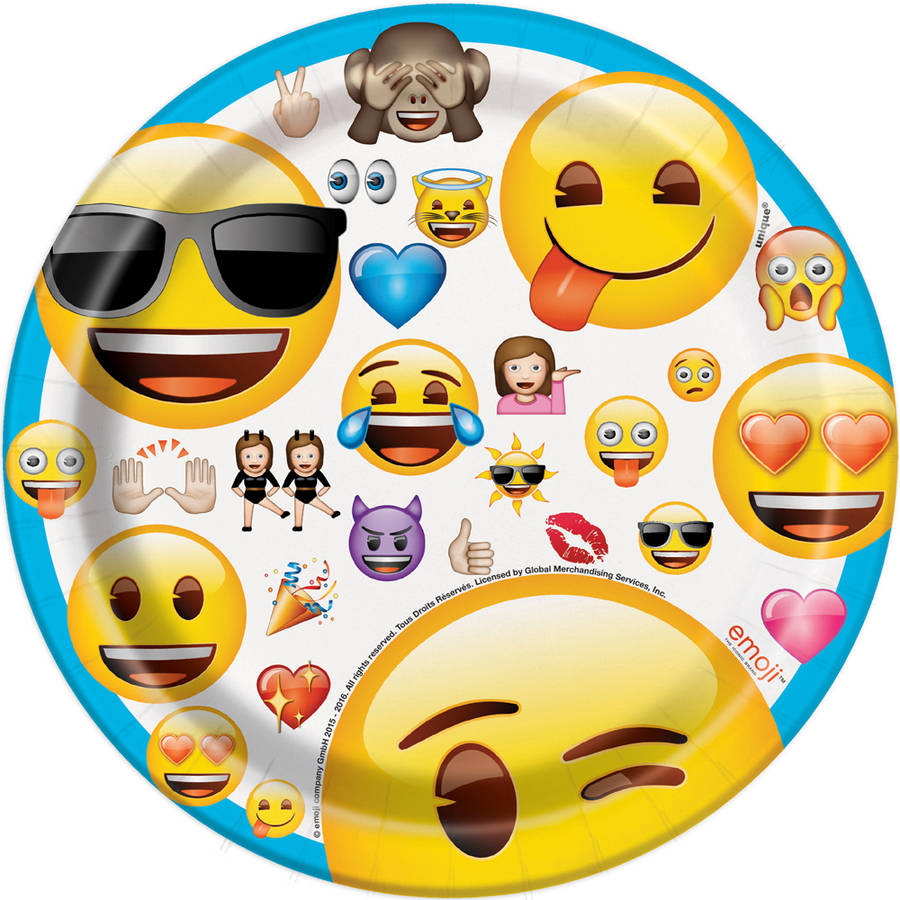 "7"" Emoji Party Plates, 8-Count"