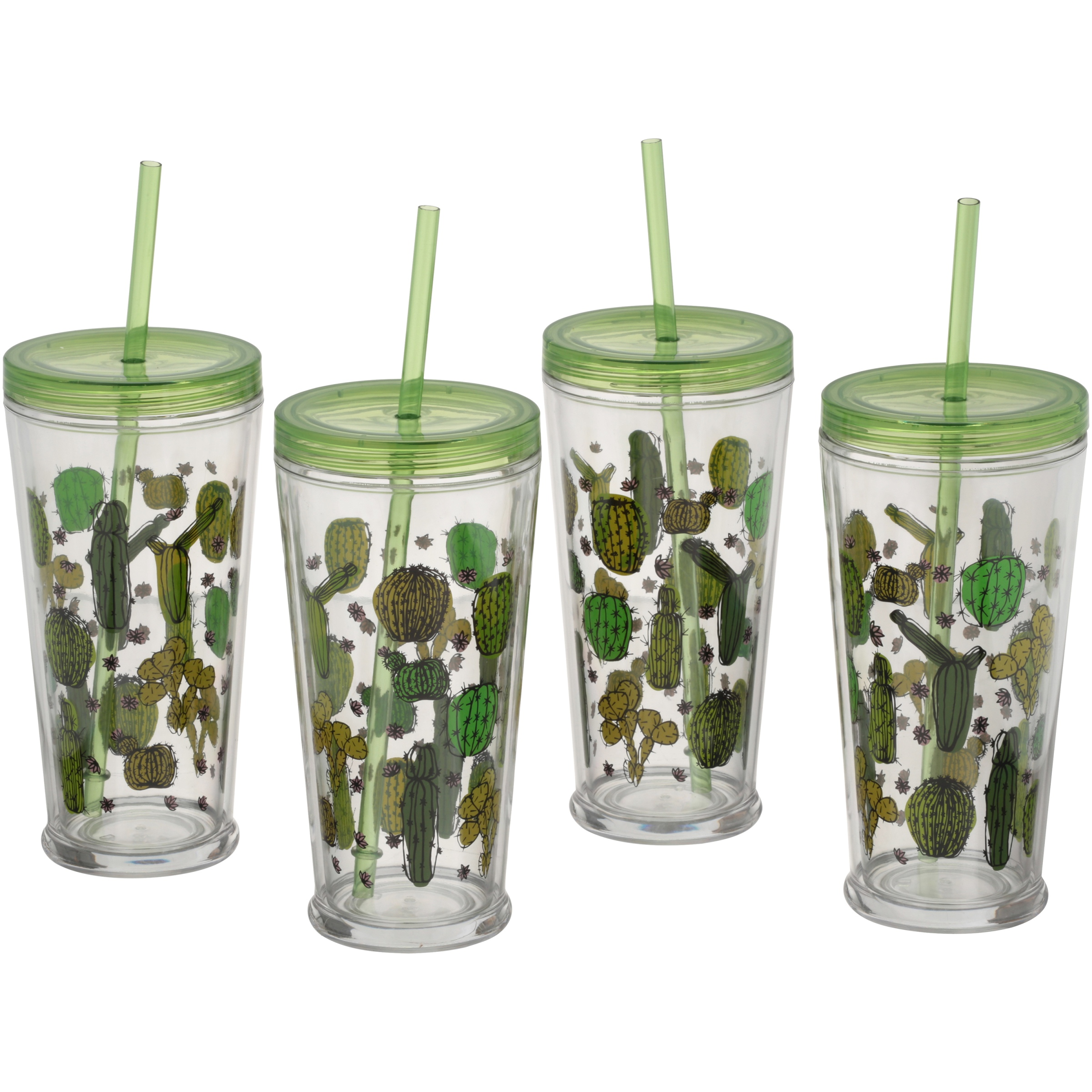 Mainstays™ Double Wall Tumbler Cactus 4 Count Set