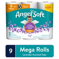 Angel Soft Lavender Toilet Paper, 9 Mega Rolls