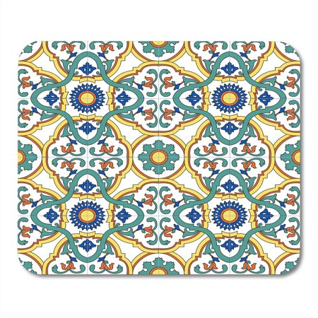 Dark Italian Antique (LADDKE Green Blue Ancient Pattern with Traditional Motifs of Southern Italy Ceramics Colorful Antique Yellow Mousepad Mouse Pad Mouse Mat 9x10 inch )